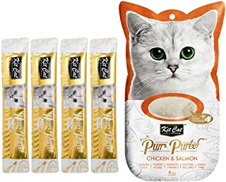 Kit-Cat Purr Puree Chicken & Salmon Wet Cat Treat Tubes 4x15g