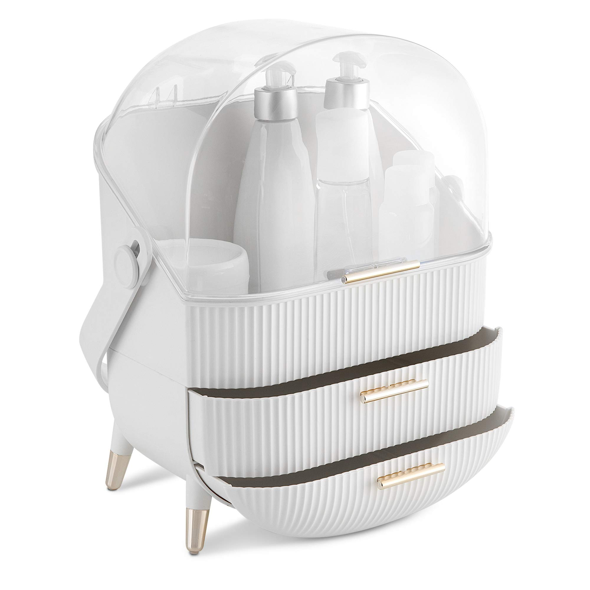 Navaris Makeup Organizer Storage Box - Cosmetics, Skincare and Beauty Case with Clear Lid Display and 2 Drawers - Bathroom Counter or Vanity - White