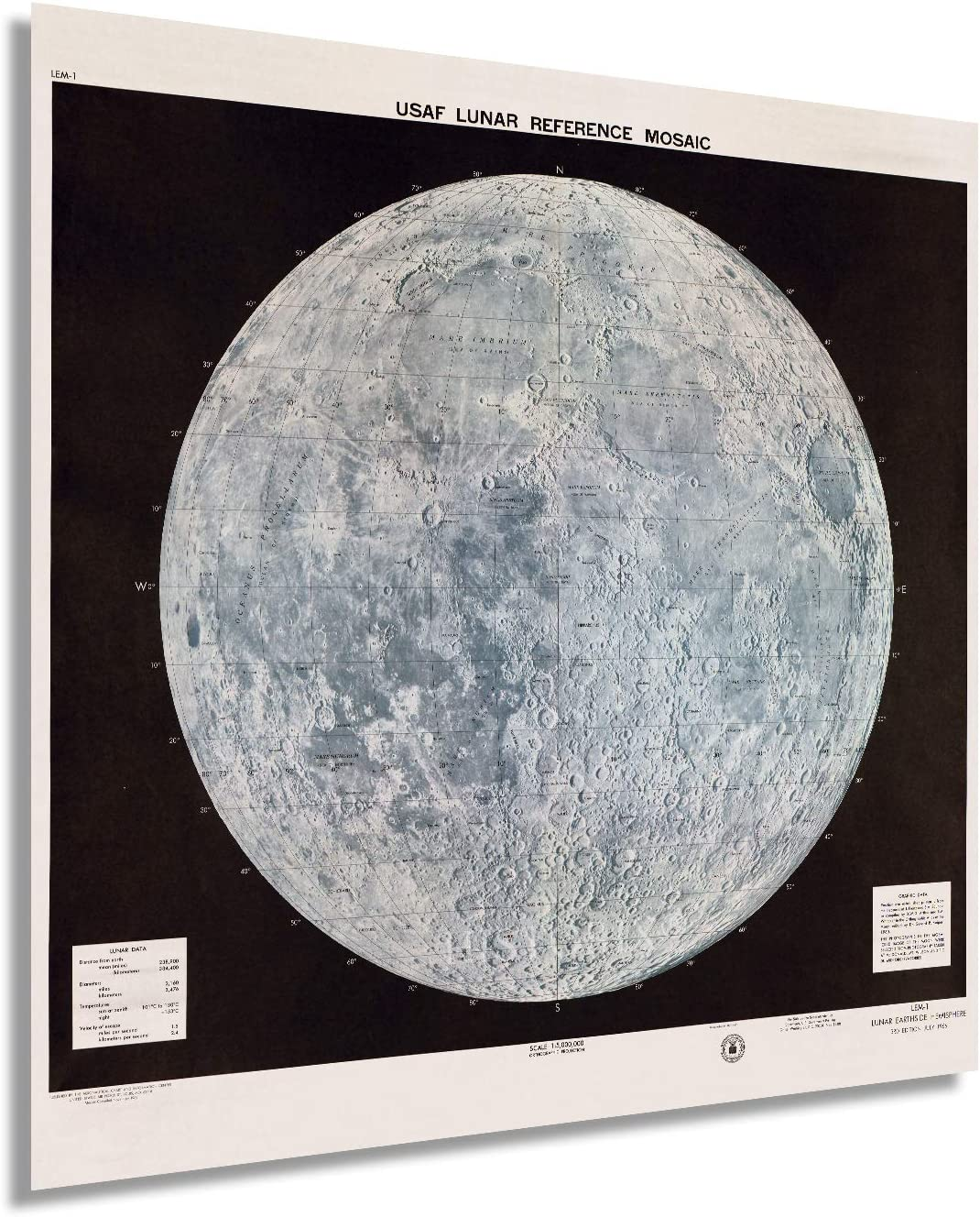 Historix Vintage 1966 Lunar Moon Map M Poster Max 73% OFF Japan Maker New Inch - 24x24
