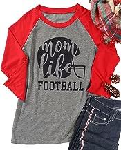 Women's Mom Life Footaball Tops Long Sleeve Raglan Baseball Relaxed T-Shirt Tee