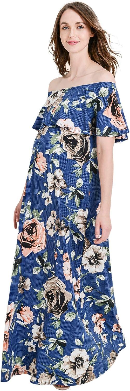 Hello MIZ Women's Ruffle Off The Shoulder Maxi Maternity Dress  Made in USA