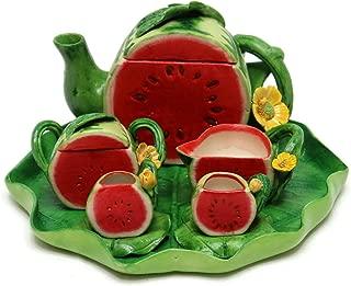 Unique Design Porcelain Miniature Watermelon Fruit Tea Set Tiny Home Fairy Garden Figurine Dollhouse Kitchen Decor Accessories Kit Tillandsia Air Plant Succulent Holder Planter (Half Watermelon)