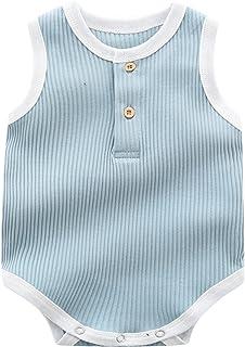 للجنسين الوليد سترة رومبير طفلة بوي قطعة واحدة الصيف بذلة بلا أكمام (Color : Blue, Size : 59cm)