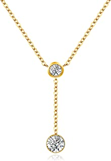 18K Gold/Rose Gold Plated Necklace, Cubic Zirconia Simulated Diamond Bezel-Set Pendant Choker Necklace Jewelry Gift for Women Girls Kids