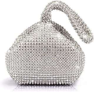 JIAN YA NA Women Ladies' Evening Clutch Bling Glitter Purse Triangle Design Wedding Purse Handbag for Party Prom (Silver)