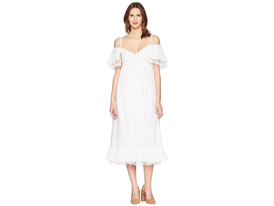 McQ Pleat Off Shoulder Dress (Off-White) Women