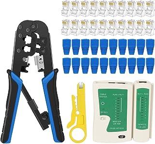 RJ45 Crimp Tool Kit Cat5 Cat5e Ethernet Crimping Tool, RJ-11, 6P/RJ-12, 8P/RJ-45 Crimp, Cut and Strip Tool with 20PCS RJ45...