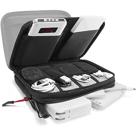 tomtoc PC周辺小物収納ポーチ ガジェットポーチ 整理ポーチ、 マウス ケーブル 充電器 モバイルバッテリー 収納ケース 小物入れ、 旅行 出張 便利グッズ トラベルポーチ、 ブラック