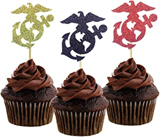 Morndew 24 PCS United States Marine Corps Themed Cupcake Toppers for Military Themed Party Promotion Retirement Party Wedding Party Birthday Party USMC Party Decorations