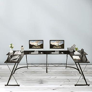 "Aneken L Shaped Gaming Desk, 51"" Home Office Desks, Modern Corner Game Desk with Large Monitor Stand for Your Studying, Worki"