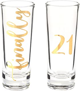 Novelty Birthday Gift - Finally 21 Shot Glasses Pair with Gold Foil Print for Celebrating Turning Legal Drinking Age Party Favors- Set of 2, 2 oz Each