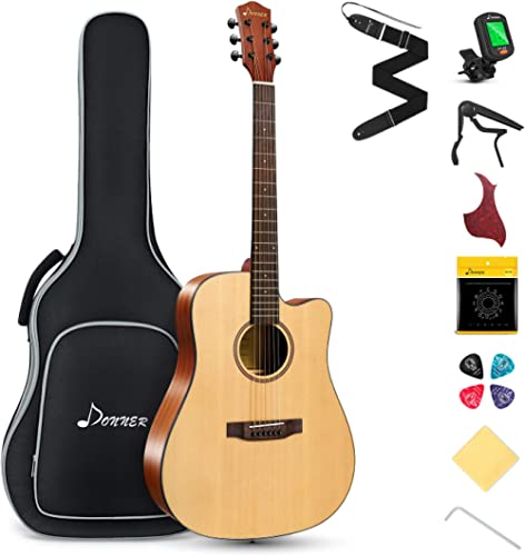 Donner Acoustic Guitar Kit for Beginner Adult Teen Full Size Cutaway Acustica Guitarra Starter Bundle Set with Gig Ba...