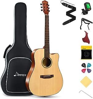 "Best Donner DAG-1C Beginner Acoustic Guitar Full Size, 41"" Cutaway Guitar Bundle with Gig Bag Tuner Capo Picks Strap String Review"