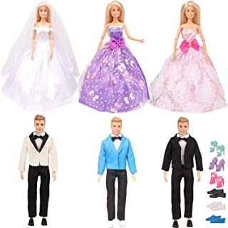 SOTOGO 18 Pieces Doll Clothes Groom Suit Wedding Dress for Ken and Barbie Doll