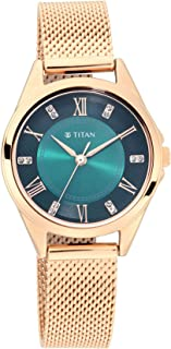 ساعة تيتان سباركل II بمينا اخضر وبسوار معدني 2565WM04