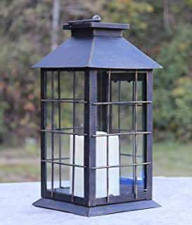 """13"""" Country Style Rustic Lantern with Flickering Flameless LED Candle"""