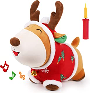 iPlay, iLearn Bouncy Pals Reindeer Bouncy Horse, Plush Ride on Hopping Animal Toy, Indoor n Outdoor Inflatable Horse Hoppe...
