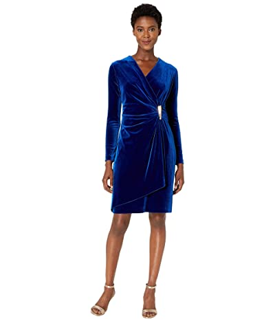 Calvin Klein Faux Wrap Velvet Dress with Side Tab (Sapphire) Women