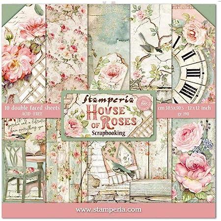 """Stamperia Bloc Papier Scrap double Face 10 feuilles 30,5x30,5 (12""""x12"""") - House of Roses, Multicolore, 5cm"""