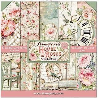 """Stamperia Bloc Papier Scrap Double Face 10 Feuilles 30,5x30,5 (12""""x12"""") -House of Roses, Multicolore, 5cm"""