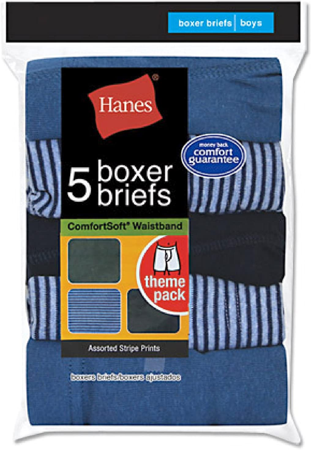 Hanes Boy's 5 Pack Comfortsoft Boxer Brief - Colors May Vary