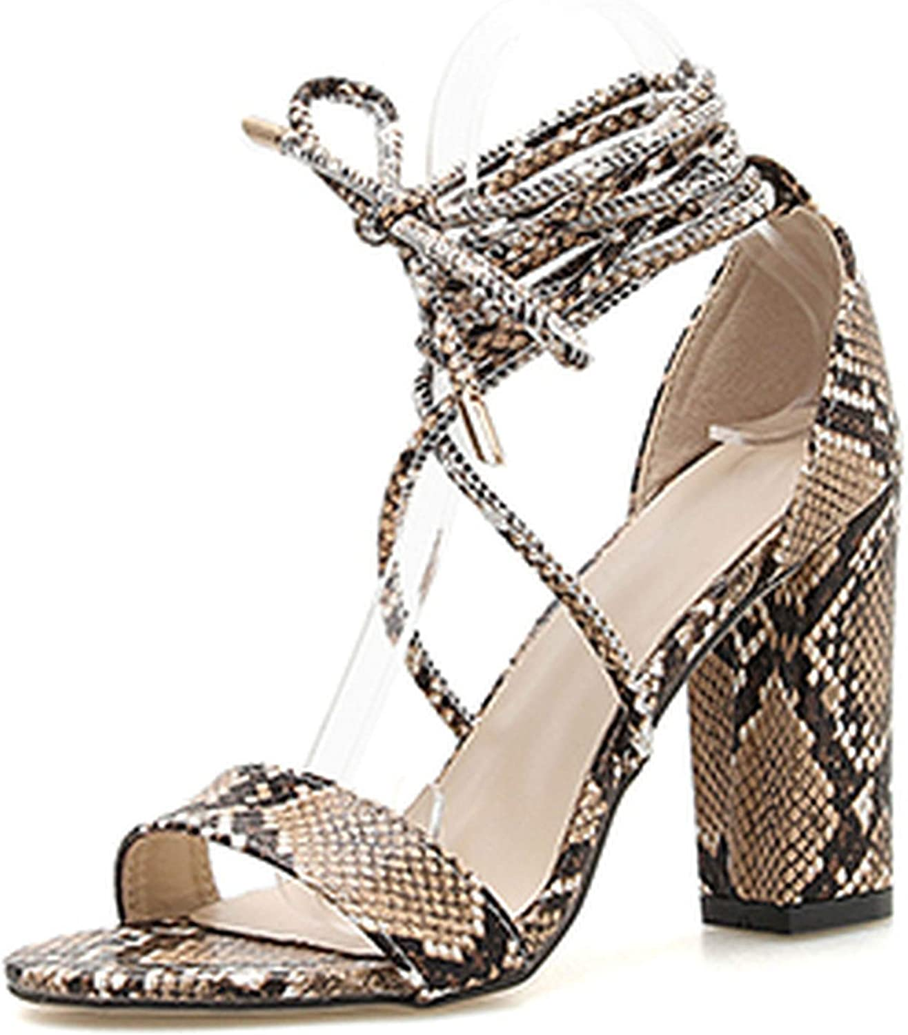 HuangKang Serpentine Summer Lace Up High Heels Sandals Peep Toe Women shoes Lace Up Square Heel Cover Heel Sandals shoes