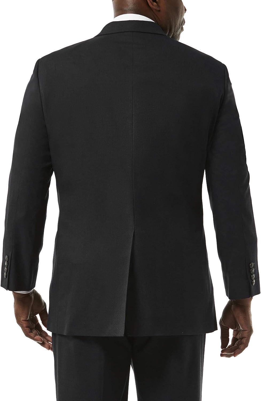 Haggar Men's Big and Tall J.m Premium Stretch Classic Fit 2-Button Coat, Black, 54R with Plain Front Pant, Black, 44Wx32L