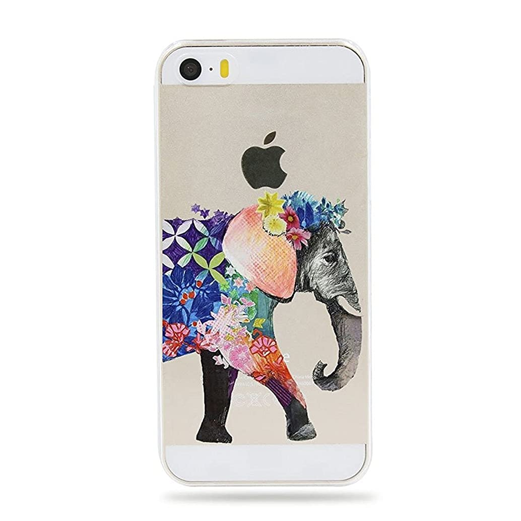 AIsoar iPhone SE Case, iPhone 5 Case, iPhone 5S Case Ultra Thin Slim Clear Soft TPU Bumper Back Anti-Scratch Protective Stylish Animals Cover iPhone 5 5S SE (Elephant Mother)