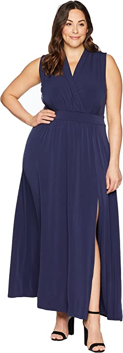 Plus Size Solid Slit Maxi Dress