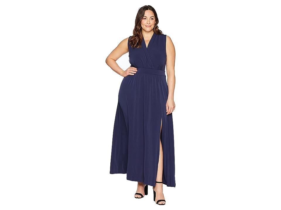 MICHAEL Michael Kors Plus Size Solid Slit Maxi Dress (True Navy) Women