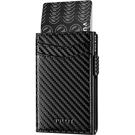 VULKIT Credit Card Holder Leather Card Wallet RFID Blocking Automatic Pop Up Business Card Case for Cards & Notes