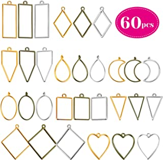 Open Bezels for Resin, Shynek 60Pcs Hollow Frame Pendants Resin Craft Bezels Jewelry Molds for Resin Casting, Necklaces Earrings Making Supplies