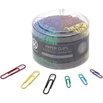 U Brands Paper Clips, Medium 1-1/8-Inch and Large 2-Inch Sizes, Assorted Colors, 450-Count - 661U08-24