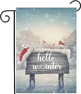ShineSnow Seasonal Winter Welcome Wooden Sign with Bird Snow and Santa Hat Garden Yard Flag 12