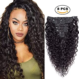 Sibaile 14inch Water Wave Clip In Hair Extensions,Real Thick,Double Weft,Brazilian 8A Remy Human Hair Water Wave Curly Clip ins For Black Women Natural Black Color 120g 8Pcs/Set with 18 Clips