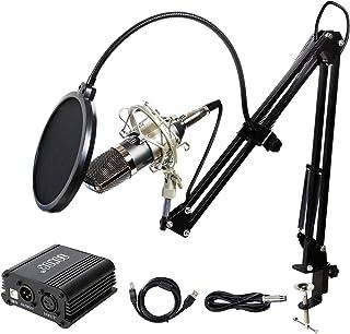 TONOR Pro Condenser Microphone XLR to 3.5mm Podcasting Studio Recording Condenser Microphone Kit Computer Mics with 48V Phantom Power Supply Black