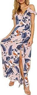 Women's Strap Ruffle Cold Shoulder Floral Print Wrap Maxi Dress Beach