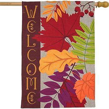 Amazon Com Briarwood Lane Autumn Leaves Burlap House Flag Fall Welcome 28 X 40 Garden Outdoor