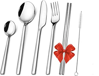 BLUE JAR HOME Cutlery Set, 19-Piece Stainless Steel Flatware Set Service for 4, Tableware Silverware with Spoon, Knife, Fo...