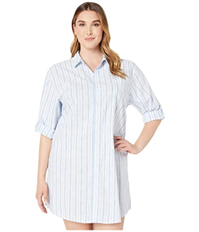 LAUREN Ralph Lauren Plus Size 3/4 Roll Tab Sleeve His Shirt Sleepshirt (Blue Stripe) Women
