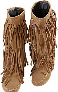 bbd2cd1ecb Zeagoo Damen Elegante Fringe Damenschuhe Knee Boots Overknee Stiefel  Stiefelette mit Fransen Winterschuhe High Heels Pumps