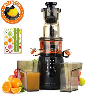 Juicer Machines, Vestaware Slow Masticating Juicer Extractor Large Chute Cold Press Easy Clean Juicer with Quiet Motor & Reverse Function, BPA-Free Juice Squeezer for Fruits and Vegetables