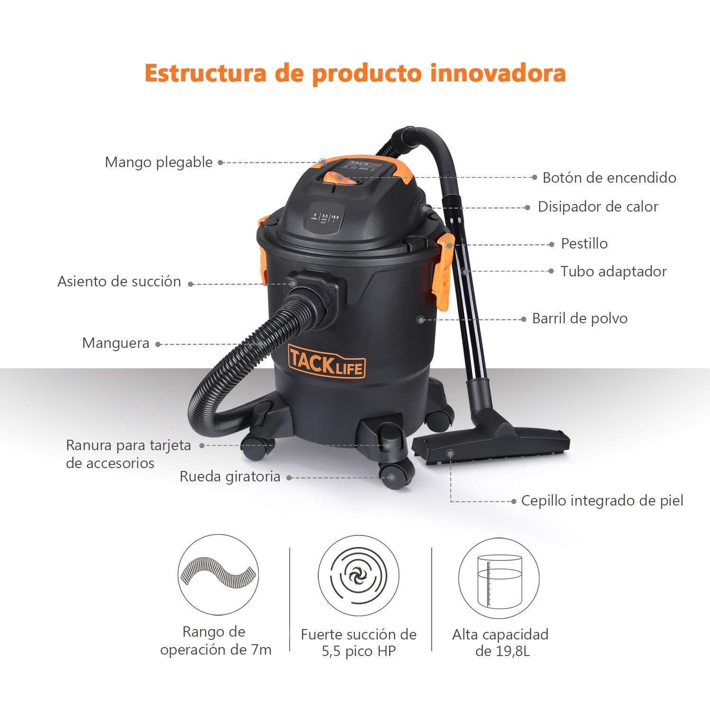 Aspirador Seco y Húmedo 1000W, Función Sopladora, 18.9 L, Filtro ...