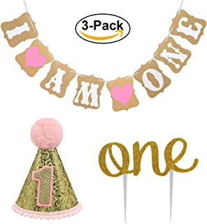 "Baby First Birthday Cake Topper Decoration & 1st Baby Girl Birthday Party Hat & Decorations Banner of ""I Am One""- For Baby Girl"