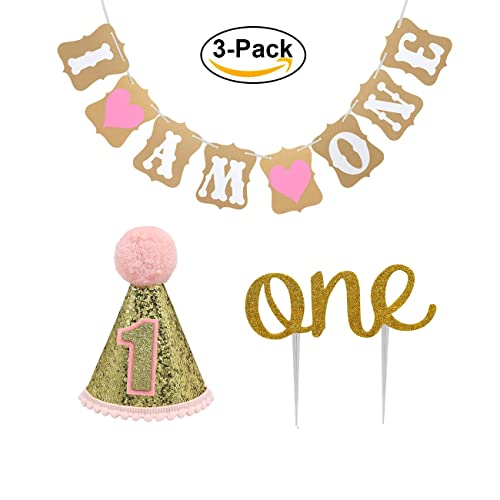 Baby First Birthday Cake Topper Decoration 1st Girl Party Hat Decorations Banner