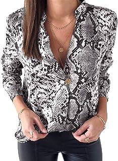 Stampata Leopardata Camicetta per Donna Moda Manica Lunga Casual Camicie Sexy Scollo a V Camicia Shirts Sweatshirts Tops p...