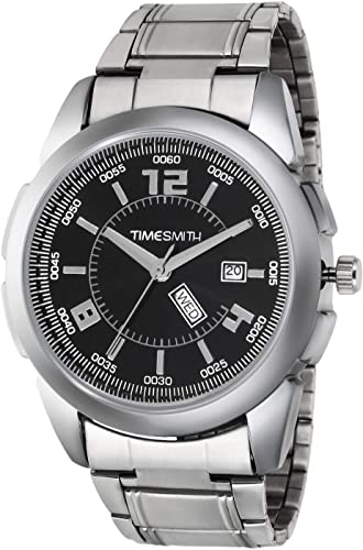 Black Dial Silver Stainless Steel Metal Strap Day Date Analog Analog Watches for Men Latest Stylish TSC 008mu