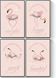 Pillow & Toast Pink Flamingo Gifts for Girls Bedroom, Flamingo Bathroom Decor, Little Girl Room Decorations, Ballet Wall Art for Room, Slumber Party Supplies