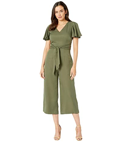 Tahari by ASL Flutter Sleeve Side Tie Jumpsuit (Olive) Women