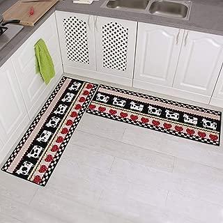 Carvapet 2 Piece Non-Slip Kitchen Mat Rubber Backing Doormat Runner Rug Set, Cartoon Milch Cow Strawberry Design (Black/Beige/Red 15